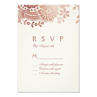 Faux rose gold elegant vintage lace wedding RSVP Card