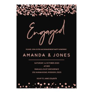 FAUX ROSE GOLD Engagement Party Invitation