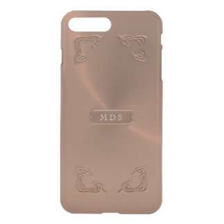 Faux Rose Gold Fancy Metallic 3D Details Monogram iPhone 8 Plus/7 Plus Case