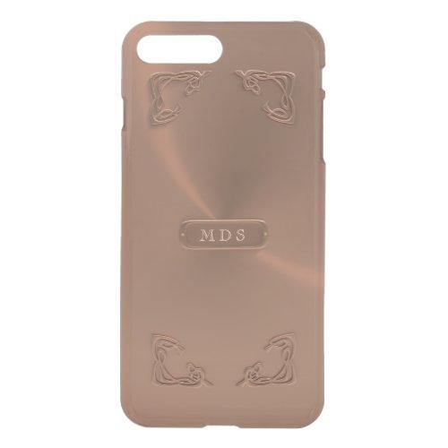Faux Rose Gold Fancy Metallic 3D Details Monogram Phone Case