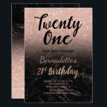 "Faux rose gold faux glitter black marble 21st Birt Invitation<br><div class=""desc"">Faux rose gold glitter ombre on black marble 21st Birthday A modern 21st Birthday party invitation with modern, original and simple faux rose gold glitter invitation and hand written style brush typography on a black marble background . If you need any text changed and customized don't hesitate in contacting me!...</div>"