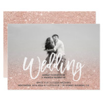 Faux rose gold faux glitter pink photo wedding invitation