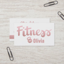 Faux Rose Gold Female Fitness Personal Trainer Business Card