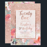 "Faux rose gold floral watercolor 21st Birthday Invitation<br><div class=""desc"">A modern,  pretty chic and elegant faux rose gold glitter shower ombre with floral watercolor and pastel flowers color block twenty first birthday party invitation with rose gold ombre pattern  with and elegant gold frame Perfect for a princess 21st birthday.</div>"