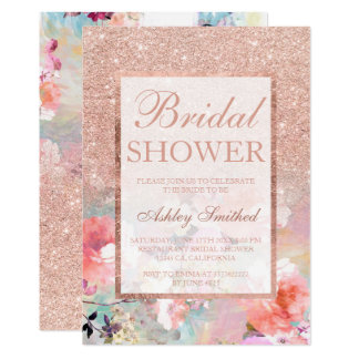 Faux rose gold floral watercolor Bridal shower Card