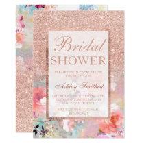 Faux rose gold floral watercolor Bridal shower Invitation