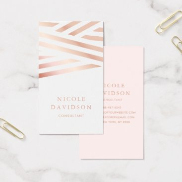Professional Business Faux Rose Gold Foil Abstract Stripes Business Card
