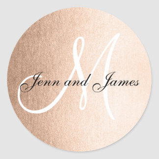 Faux Rose Gold Foil Black Wedding Favor Initial Classic Round Sticker