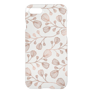 Faux Rose Gold Foil Botanical Pattern Clear iPhone 7 Case