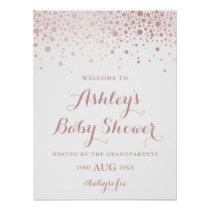 Faux Rose Gold Foil Confetti Baby Shower Sign