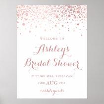 Faux Rose Gold Foil Confetti Bridal Shower Sign