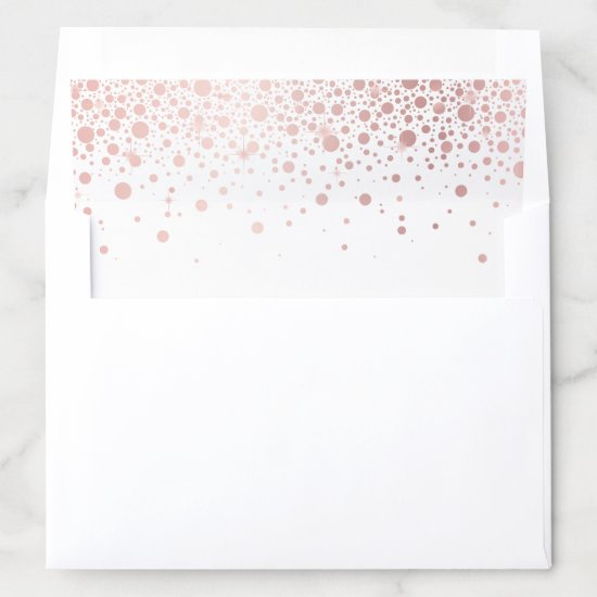 Faux Rose Gold Foil Confetti Dots Elegant Envelope Liner