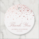 """Faux Rose Gold Foil Confetti Dots Thank You Favor Tags<br><div class=""""desc"""">Faux Rose Gold Foil Confetti Dots Wedding Thank You Favor Tags   Elegant stylish thank you gift tag featuring faux rose gold foil confetti dots. This is faux gold foil - there will be NO actual gold foil. The texts are also completely customizable for any events. Perfect for weddings, bridal...</div>"""
