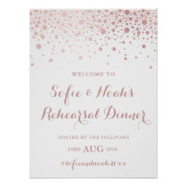 Faux Rose Gold Foil Confetti Rehearsal Dinner Sign