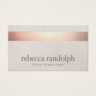 Faux Rose Gold Foil Elegant Modern Beige Linen Business Card
