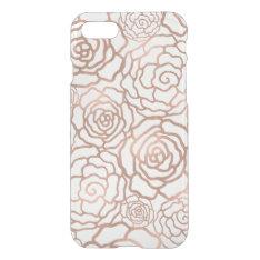 Faux Rose Gold Foil Floral Lattice Clear Iphone 7 Case at Zazzle