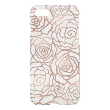 Faux Rose Gold Foil Floral Lattice Clear iPhone 7 Case