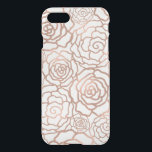 "Faux Rose Gold Foil Floral Lattice Clear iPhone 8/7 Case<br><div class=""desc"">Beautiful CLEAR iPhone 7 case features a floral lattice pattern of roses and camellias in faux rose gold foil. Clear case lets the metallic finish of your phone shine through,  giving this case a cool luminous effect. (Please note that foil is a printed image.)</div>"
