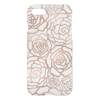 Faux Rose Gold Foil Floral Lattice Clear iPhone 8/7 Case