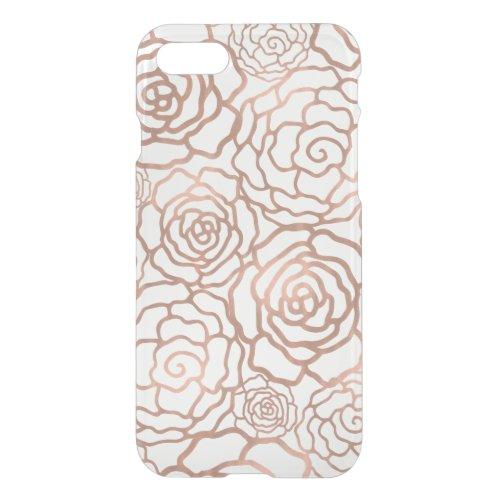 Faux Rose Gold Foil Floral Lattice Clear Phone Case