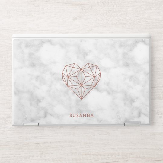 Faux Rose Gold Foil Geometric Heart | Chic Marble HP Laptop Skin