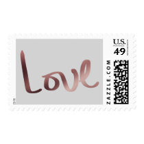 Faux Rose Gold Foil Hand Lettered Love over Gray Postage