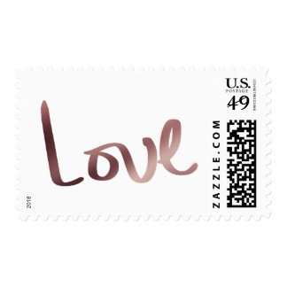 Faux Rose Gold Foil Hand Lettered Love Typography Postage
