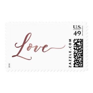 Faux Rose Gold Foil Love Hand-Lettered Font Postage