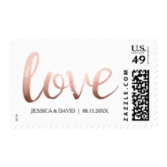 Faux Rose Gold Foil Love Postage at Zazzle