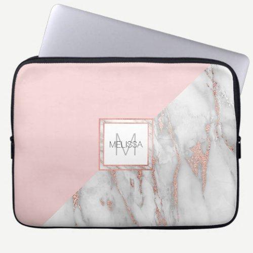 Faux Rose Gold Foil Marble Blush Pink MONOGRAM Laptop Sleeve