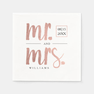 Faux Rose Gold Foil Mr. & Mrs. Paper Napkin