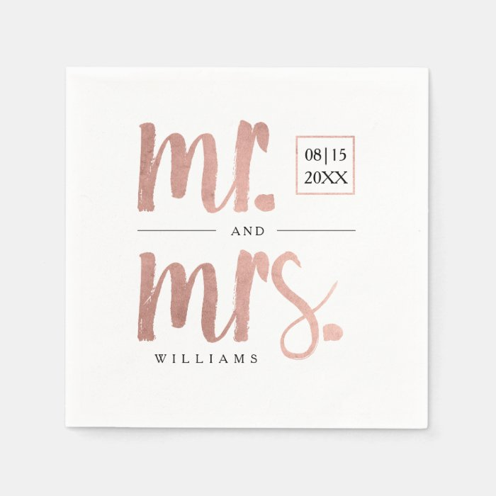 Monogram Paper Napkins Uk: Faux Rose Gold Foil Mr. & Mrs. Paper Napkin