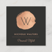 Faux Rose Gold Foil Painted Circle Business Cards