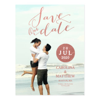 Faux Rose Gold Foil | Photo Save the Date Postcard