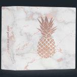 """faux rose gold foil pineapple on pink marble 3 ring binder<br><div class=""""desc"""">rose gold pineapple binder</div>"""