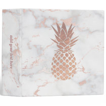 faux rose gold foil pineapple on pink marble 3 ring binder