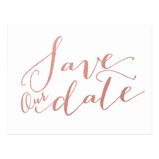 Faux Rose Gold Foil | Save the Date Postcard