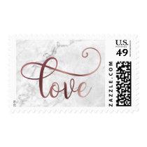 Faux Rose Gold Foil Script Love on Marble, Wedding Postage