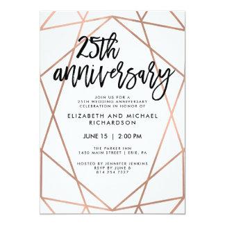 Faux Rose Gold Geometric 25th Wedding Anniversary Card