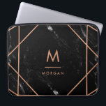 "Faux Rose Gold Geometric | Black Marble Look Laptop Sleeve<br><div class=""desc"">This elegant design features a modern faux rose gold geometric lines pattern on a black,  marble look background. Personalize with your initial and name in matching text.</div>"