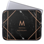 Faux Rose Gold Geometric | Black Marble Look Laptop Sleeve<br><div class='desc'>This elegant design features a modern faux rose gold geometric lines pattern on a black,  marble look background. Personalize with your initial and name in matching text.</div>