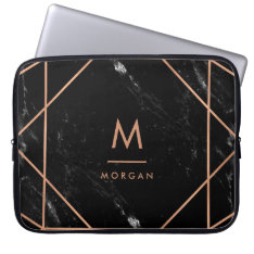 Faux Rose Gold Geometric | Black Marble Look Laptop Sleeve at Zazzle