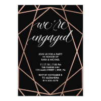 Faux Rose Gold Geometric Engagement Party Card