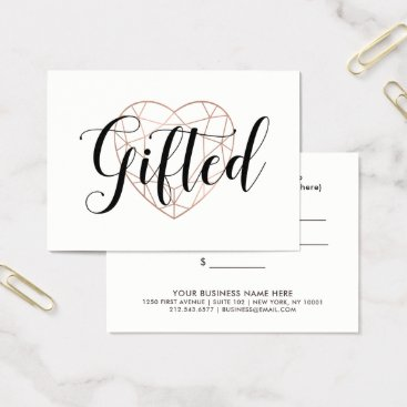 Valentines Themed Faux Rose Gold Geometric Heart | Gift Certificate