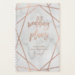 "Faux Rose Gold Geometric | Marble Wedding Planner<br><div class=""desc"">This elegant and trendy wedding planner features modern,  faux rose gold look typography and a geometric design on a marble look background.</div>"