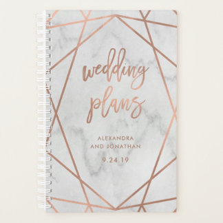 Faux Rose Gold Geometric | Marble Wedding Planner