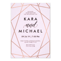 Faux Rose Gold Geometric on Blush Pink Wedding Invitation