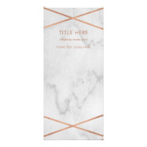 Faux Rose Gold Geometric on Marble Rack Card