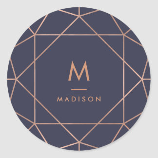 Faux Rose Gold Geometric on Midnight Blue Classic Round Sticker