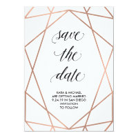 Faux Rose Gold Geometric on White | Save the Date Card